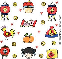 doodles, 主題, 插圖, 漢語