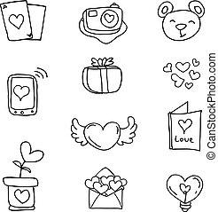 doodles, 主題, 矢量, 愛