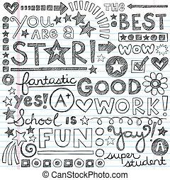 doodles, 偉大, 工作, 學校, 稱讚