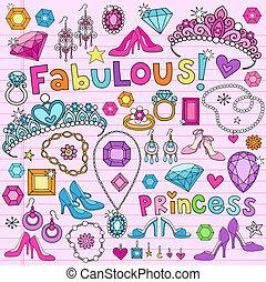 doodles, 矢量, 集合, 公主
