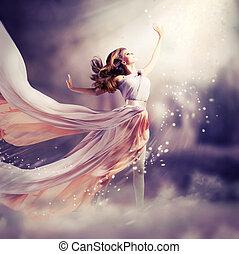 dress., 女孩, 穿, 雪紡綢, 幻想, 場景, 長, 美麗