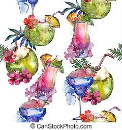drink., 酒吧, 酒精, 雞尾酒, 餐館, 集合, 菜單, pattern., seamless, 熱帶, 玻璃, 背景, 黨, illustration.