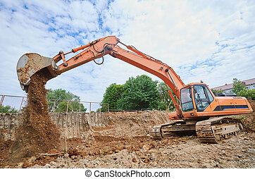earthmoving, 在期間, 挖掘機, sandpit, 工作