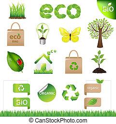 eco, 元素, 設計, 彙整, 圖象