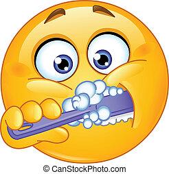 emoticon, 刷牙齒