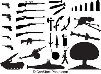 engineering., 武器, 插圖, 黑色半面畫像, 矢量, 各種各樣