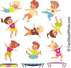 exercises., 不同, poses., 孩子, 孩子, 飛行, 幼稚, 男孩, 人們, 體操, play., 跳躍, 卡通, 年輕, bounce, 活躍, trampolines., fitness., 比賽, 矢量, 女孩