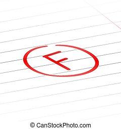 f, 等級, 後者, 馬克, 檢查, 結果, 紅色