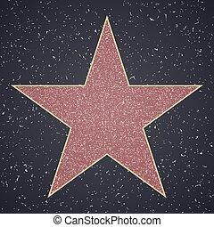 fame., 空白, 星, 樣板, 步行