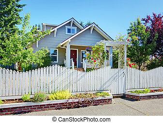 fence., 風格, 灰色, 後面, 工匠, 小, 家, 白色