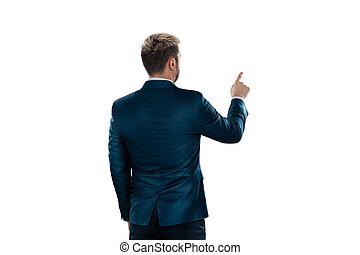 finger., 事務, 被隔离, 點, 商人, 他的, 某事, 背景, 衣服, 人, 白色