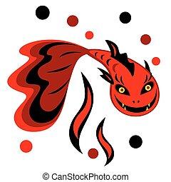 fish-devil, 矢量, 插圖