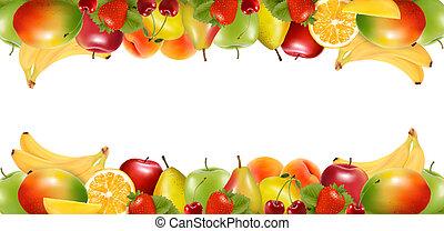 fruit., 美味, 邊境, 成熟, 二, vector., 做