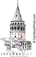 galata 塔, 圖畫
