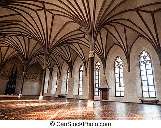 gothich, 拱, 城堡, 大廳