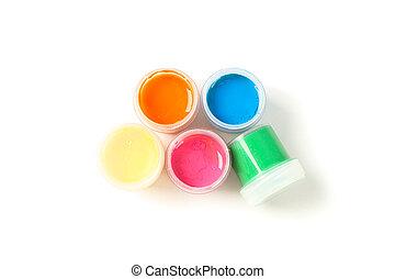 gouache, 顏色, 頂部, 被隔离, 畫, 背景, 罐頭, 白色, 看法
