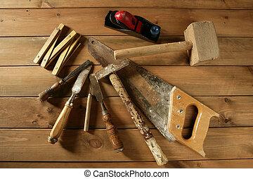 gouge, 工具, 看見, 木匠, 飛機, 木頭, 磁帶, 錘子