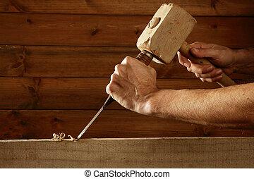 gouge, 工具, 鑿子, 木匠, 手, 木頭, 錘子