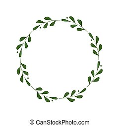 greetings., 邀請, 框架, border., 插圖, 時髦, 脫落, 標識語, 綠色, 最簡單派藝術家, berries., 離開, 樣板, laconic, 末梢, wreath., 設計, 矢量, 輪