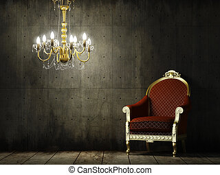 grunge, 內部, 扶手椅子, 第一流, 房間