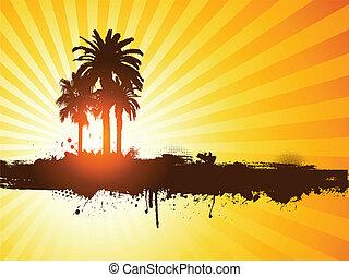 grunge, 夏天, 棕櫚樹, 背景
