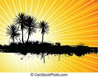 grunge, 棕櫚樹, 背景