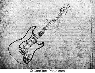 grunge, 牆, 海報, 音樂, 岩石, 磚
