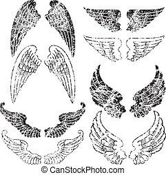 grunge, 翅膀, 天使