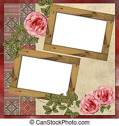 grunge, 背景, 烏克蘭人, 木制, 玫瑰, 刺繡, 框架