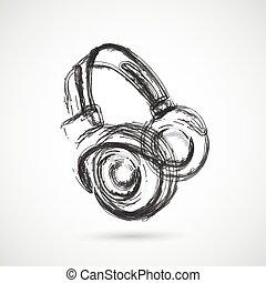 grunge, 頭戴收話器, 全部, editable, 容易