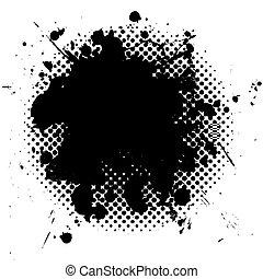 grunge, halftone, 黑色, splat, 墨水