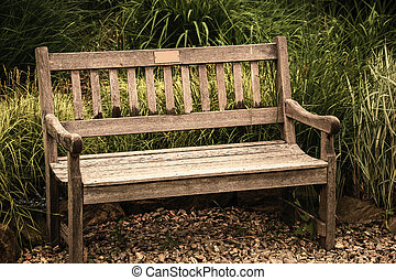 grunge, sitting., 單獨, 空, 孤獨, calmness., 概念, 怀鄉病, 攝影, 春天, bench., 古董, 憂鬱, 古板, 概念性, 悲哀, loneliness., 場景, 家具