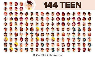 guy., 集合, 人們, 男性, female., 亞洲人, ethnic., 青少年, vector., 跨國公司, 套間, 插圖, portrait., 用戶, arab., 多, 歐洲, 臉, 女孩, african, avatar, icon., racial., emotions.