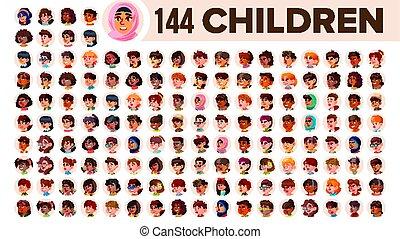 guy., 集合, 人們, arab., 男性, female., 亞洲人, 孩子, ethnic., vector., 跨國公司, 套間, 插圖, portrait., 用戶, 孩子, 多, 歐洲, 臉, 女孩, african, avatar, icon., racial., emotions.