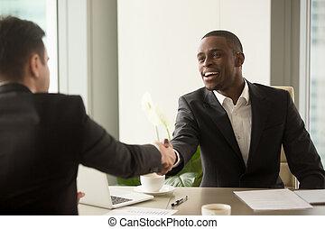 ha, 事務, 高加索人, 有吸引力, 合伙人, african, 商人