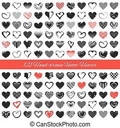 hand-drawn, 矢量, hearts., 浪漫, 插圖