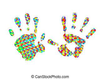 hand-prints, 二, 鮮艷