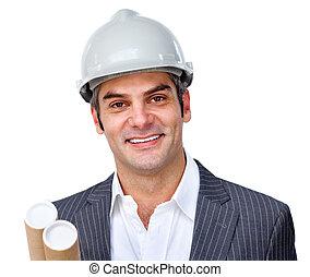 hardhat, 建築師, 成熟, 穿, 男性