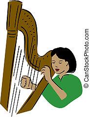 harpist., 矢量, 插圖