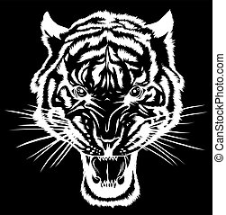 head., 插圖, 黑色半面畫像, tiger, 矢量, anger.