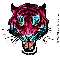 head., anger., tiger, 矢量, 插圖