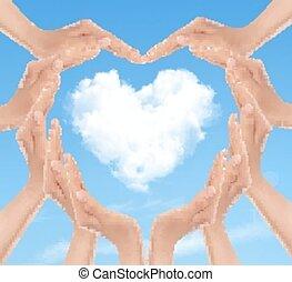 heart., 情人是, day., 矢量, 背景, 手, 做, 假期