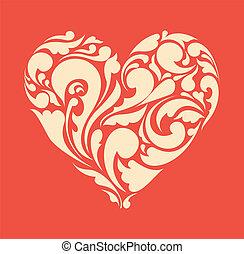 heart., 海報, 摘要, retro, 植物, 愛, concept.