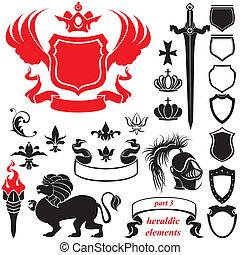 heraldic, 集合, 黑色半面畫像, 元素