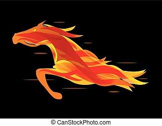 horse., 跑, 火