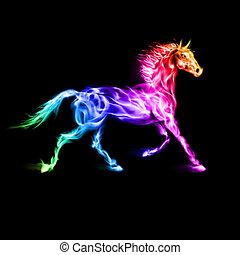 horse., 鮮艷, 火