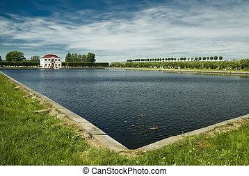 house., 老, 莊園, 池塘