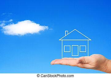 housing., 概念, 棕櫚, 房子
