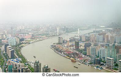 huangpu, 上海, 空中, 河, 看法