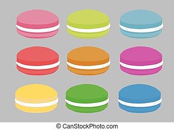 illustration., 九, 矢量, colors., 不同, 集合, macaron